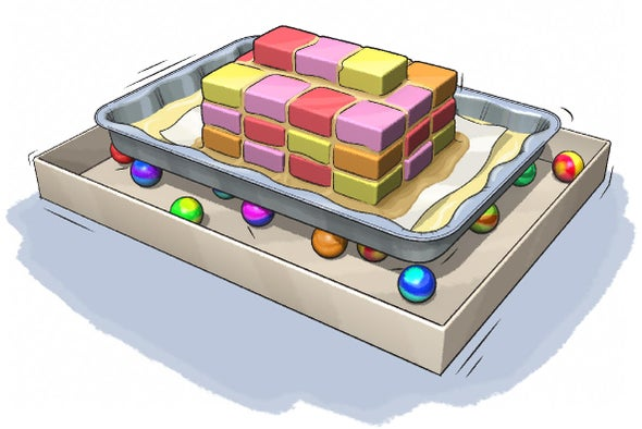 مبنى من الحلوى المهتزة لمحاكاة تأثير الزلازل