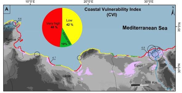تصاعُد احتمالية تعرُّض الخط الساحلي للانحسار في كلٍّ من مصر وتونس بفعل البشر