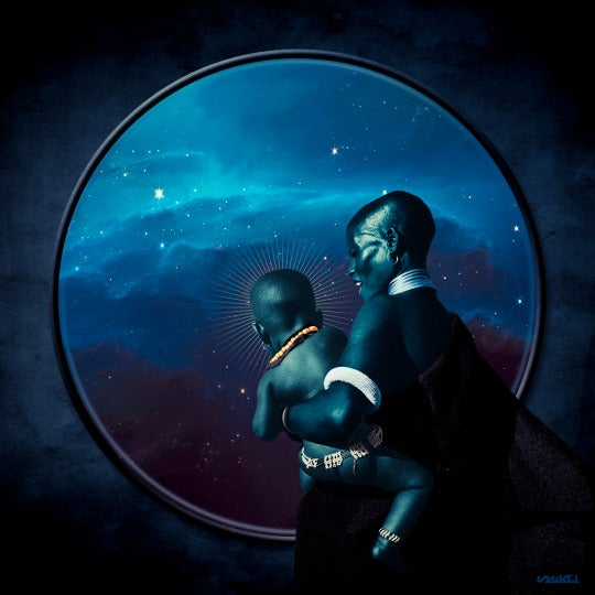 A woman and her haloed baby look through a window at a field of stars. Afrofuturist photo manipulation by SReal.