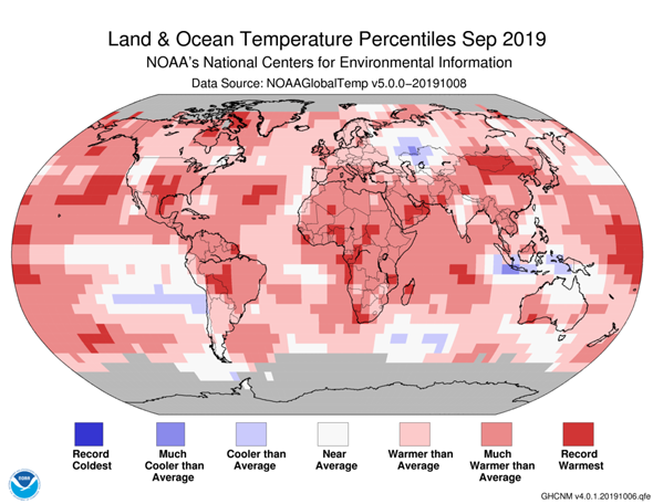 Global temperatures in September 2019