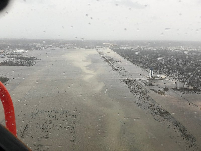 Flooded airport after Hurricane Dorian