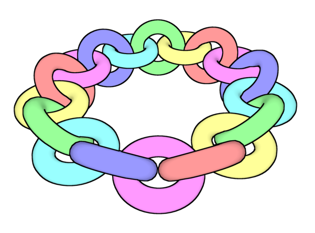 A multicolored chain made of 18 links.
