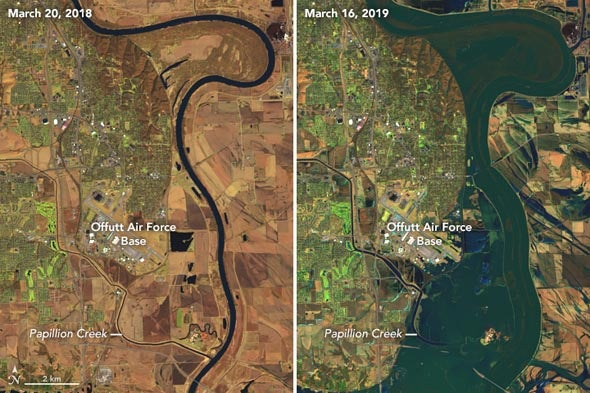 Flooding in the Midwest in March 2019 compared with March 2018