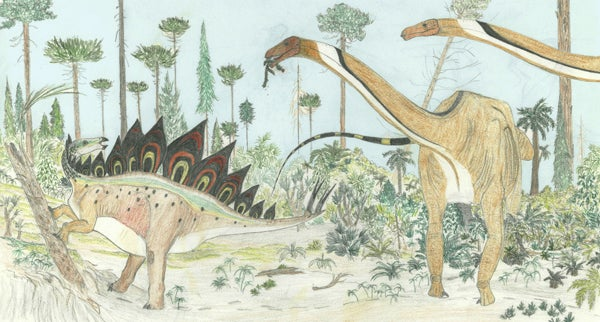 Dinosaurs In African Swamp