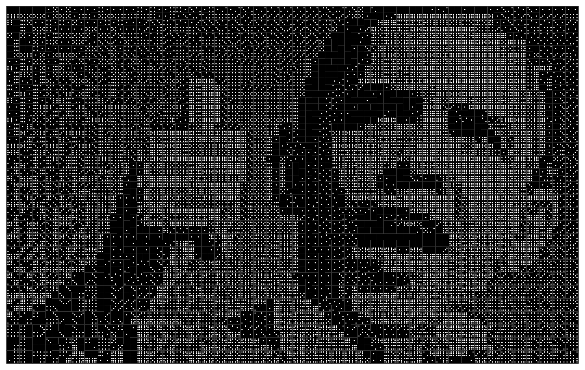 A portrait of Barack Obama using 44 sets of double-9 dominoes