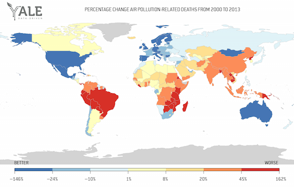 A new air pollution database is good but imperfect data driven yale percentage difference between air pollution related deaths in 2000 and 2013 data source global burden of disease gdb freerunsca Gallery