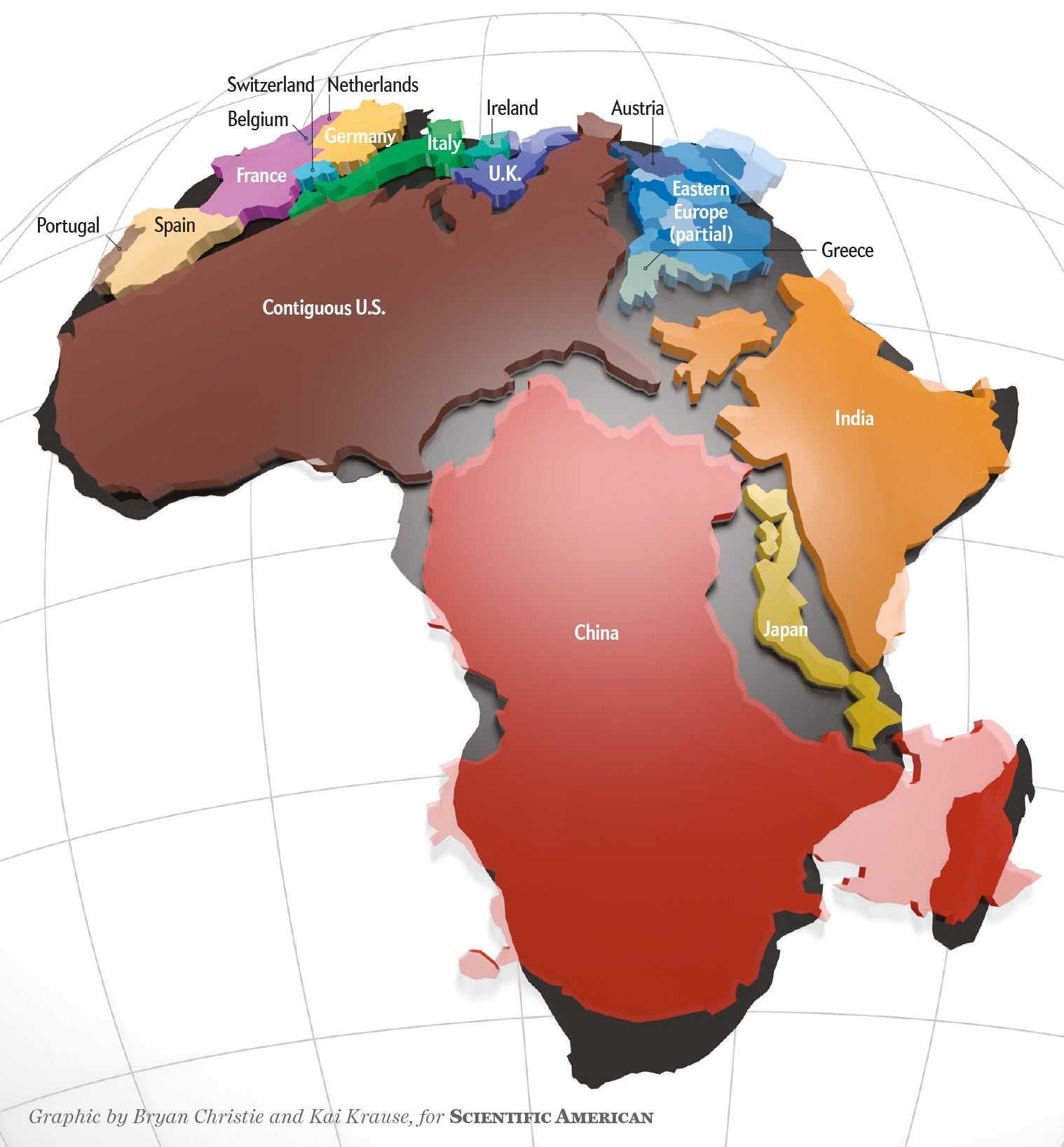 Africa Is Way Bigger Than You Think Scientific American Blog Network - Portugal map size