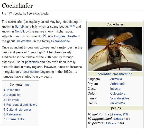 "The Maybug is also known as the ""cockchafer"", as seen on this Wikipedia page."