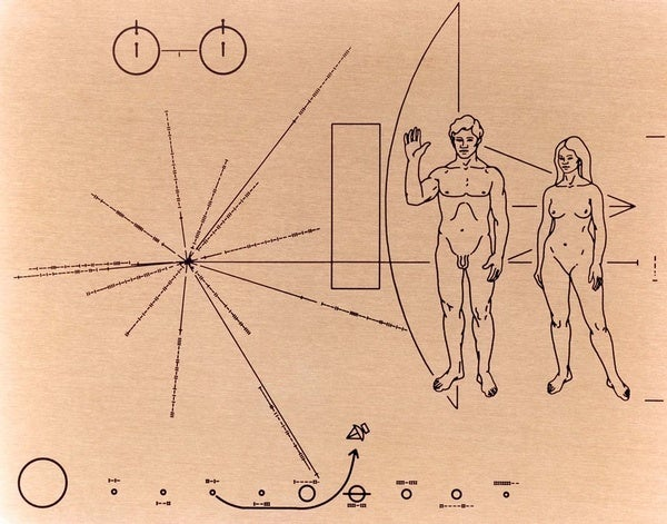 Plaque designed by Carl Sagan and Frank Drake, currently heading out of the Solar System aboard Pioneer 10. Credit: NASA Ames Research Center Wikimedia