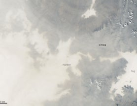 Smog shuts down Harbin, China, as seen from space.