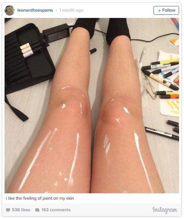 Glossy Legs Leave Internet Agog