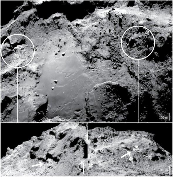 Rosetta detecta el hielo expuesto sobre el cometa 67P