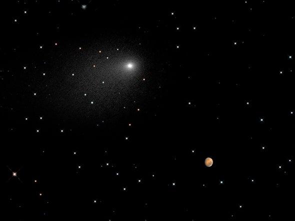 Hubble muestra el paso del cometa Siding Spring por Marte
