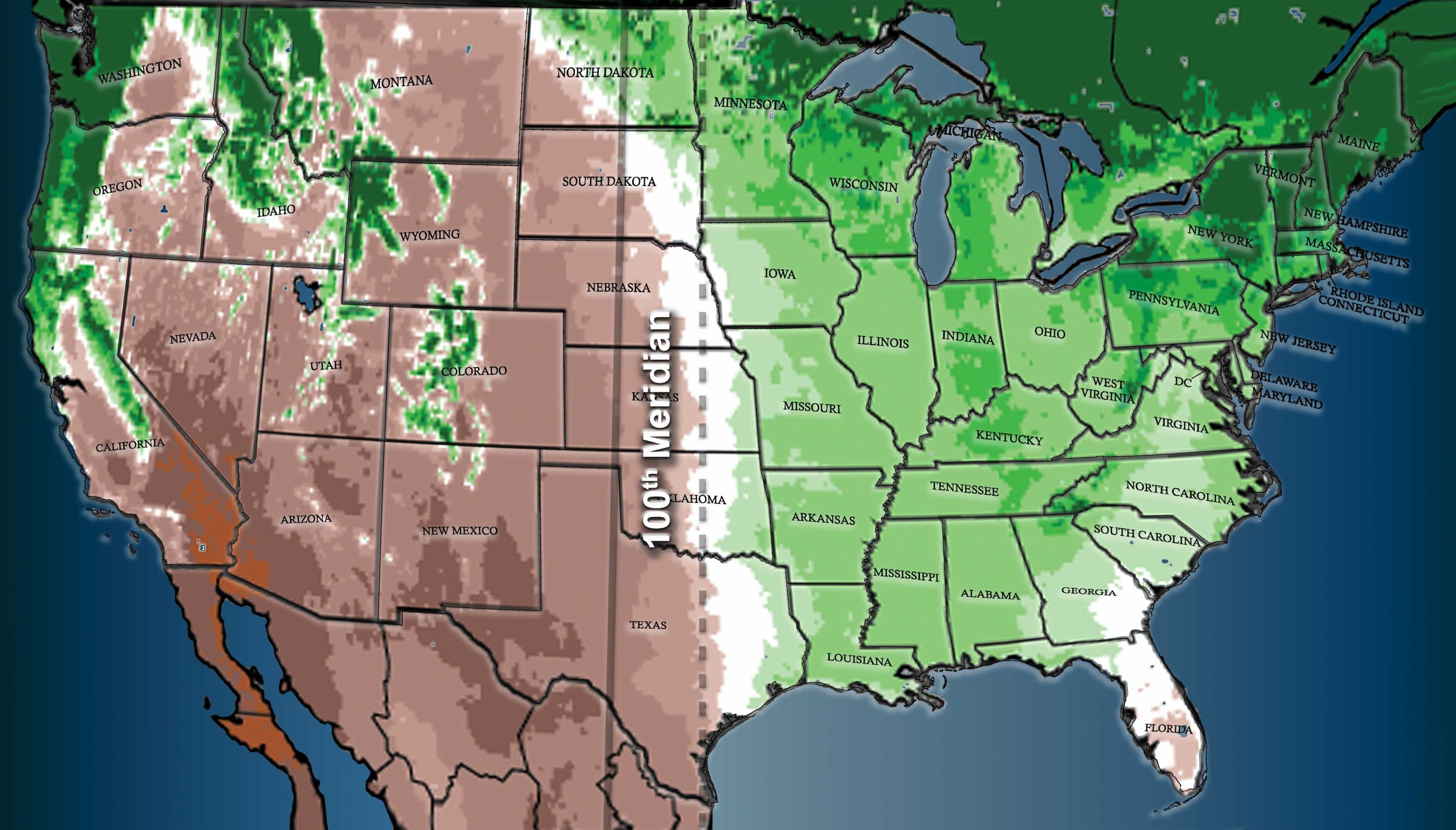 the 100th meridian west solid line coincides with the climate divide between the relatively moist eastern us and the more arid west