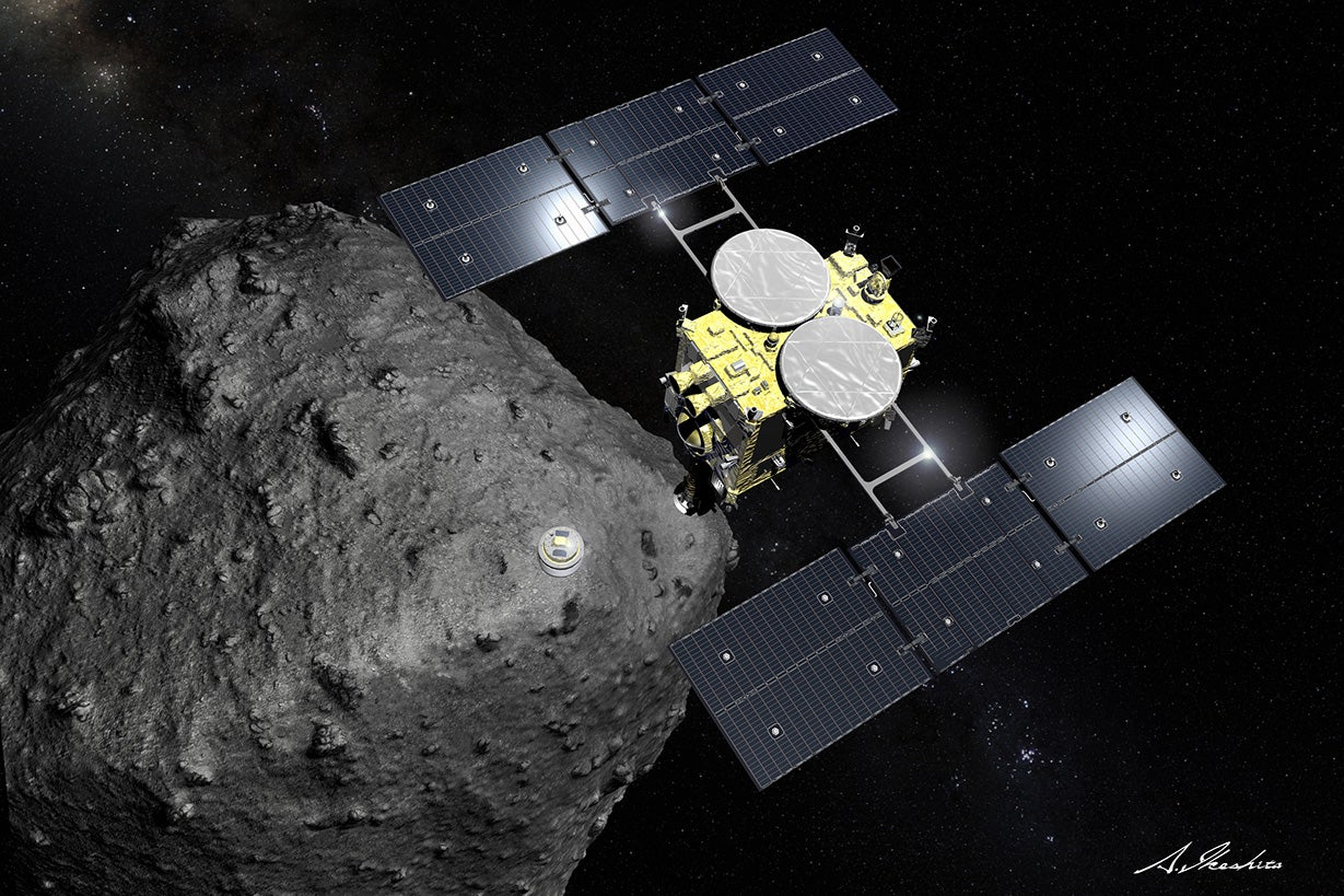 Illustration: Hayabusa2 spacecraft orbiting the asteroid Ryugu