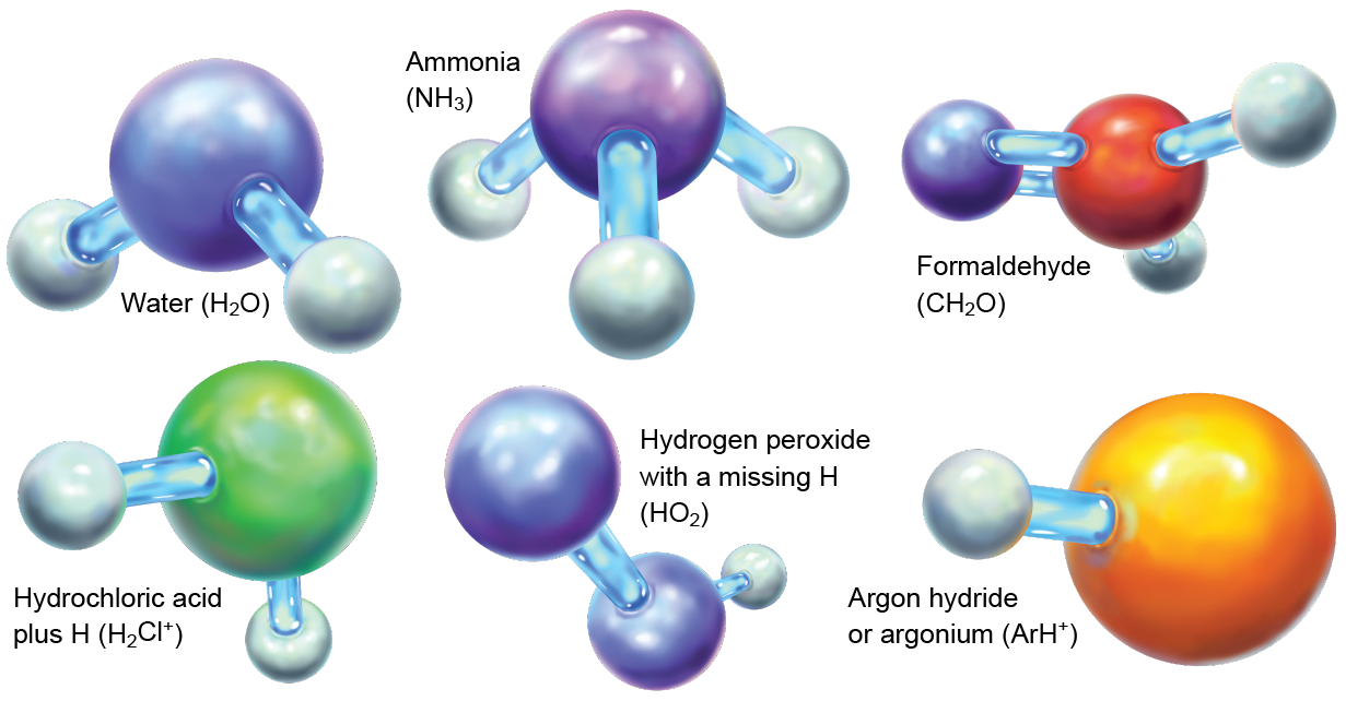 Stick-and-ball models of water, hydrochloric acid plus H, ammonia, hydrogen peroxide with a missing H, formaldehyde and argon hydride (or argonium)