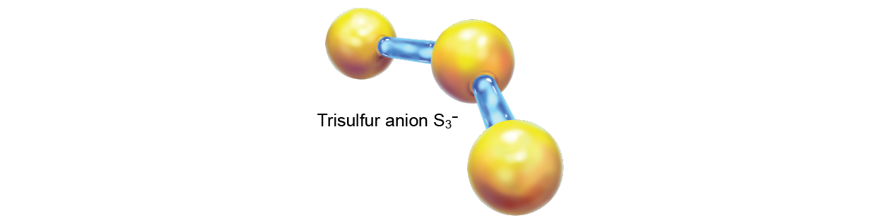 Stick-and-ball model of trisulfur anion (S3-)