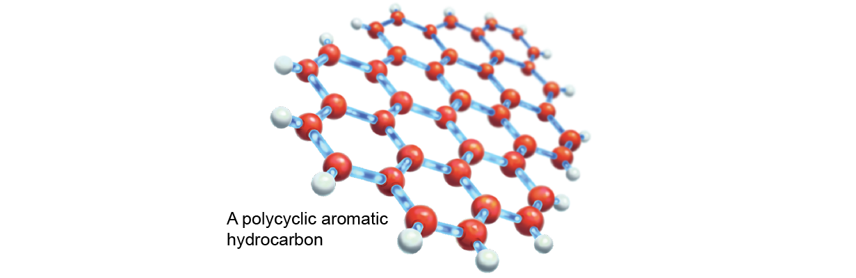 Stick-and-ball model of a polycyclic aromatic hydrocarbon sheet