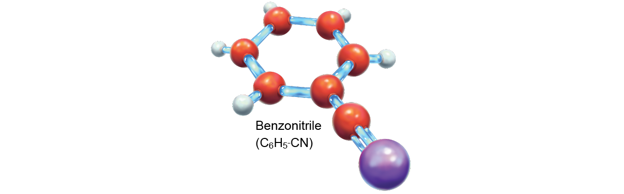 Stick-and-ball model of benzonitrile (C6H5-CN)