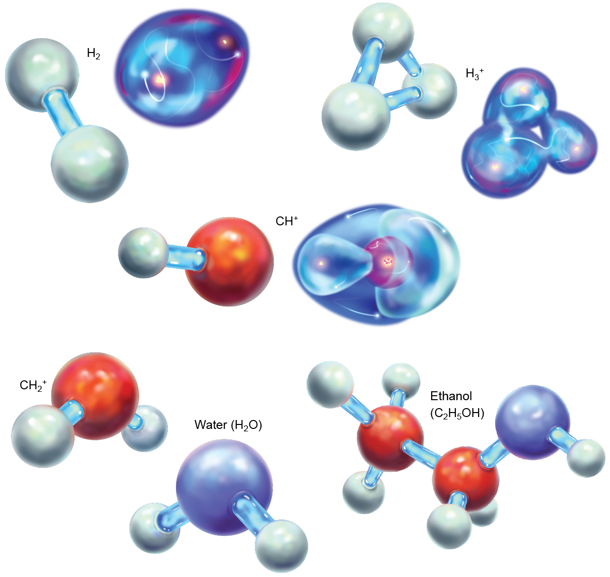 Stick-and-ball and orbital models of H2, H3+, and CH+; and stick-and-ball models of CH2+, H2O and C2H5OH