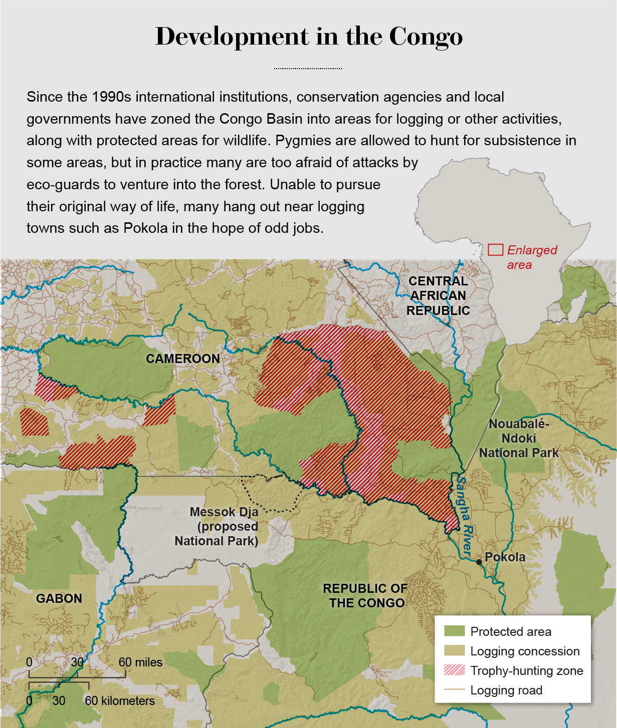 Map shows protected areas, logging concessions, logging roads and trophy-hunting areas in the Congo Basin