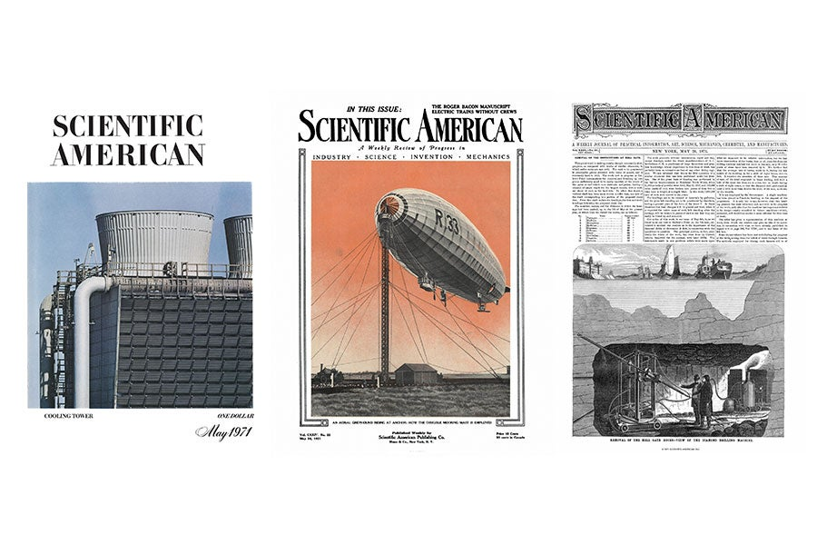 1971, 1921 and 1871 Scientific American issue covers.