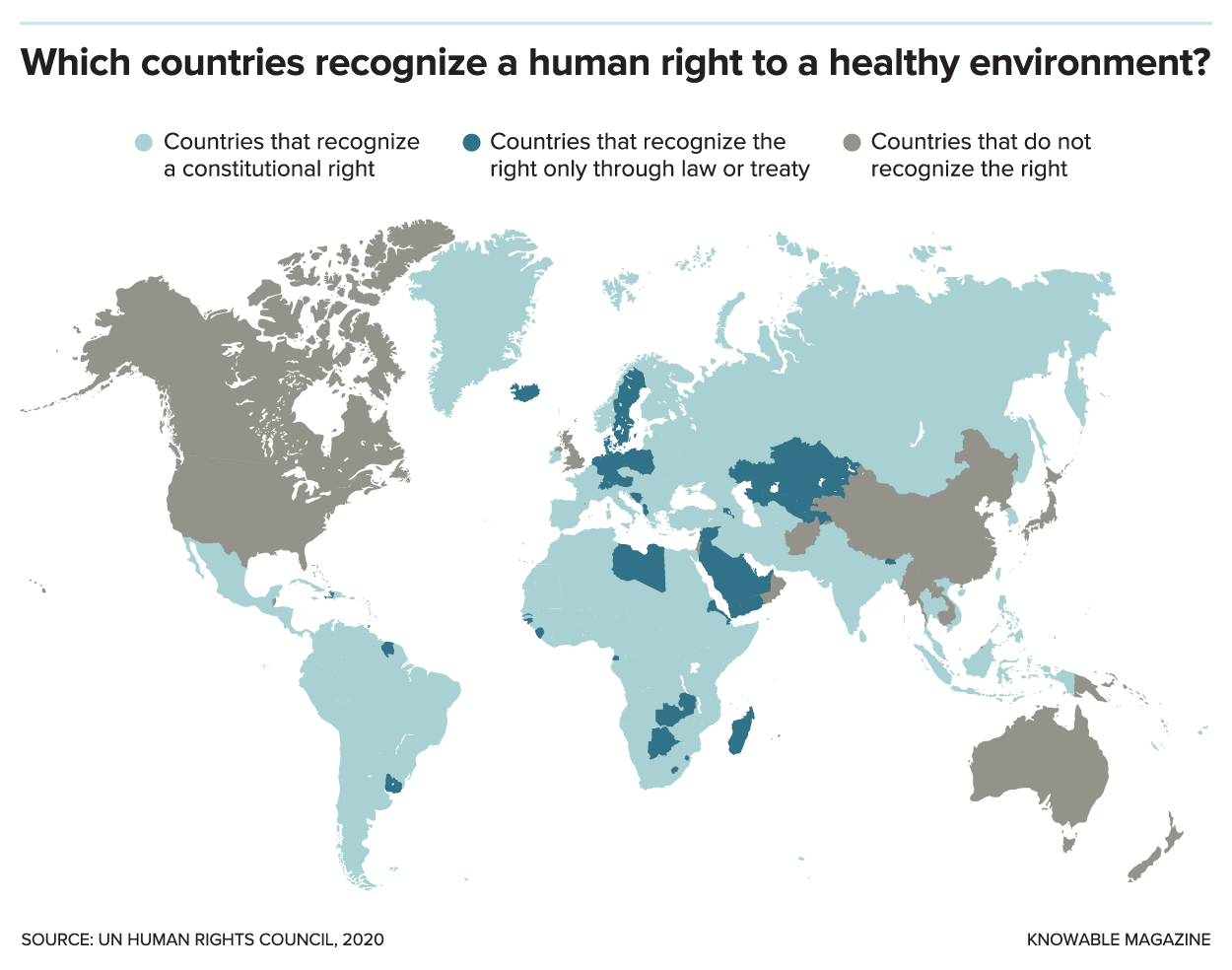 Map showing which nations recognize a human right to a healthy environment.