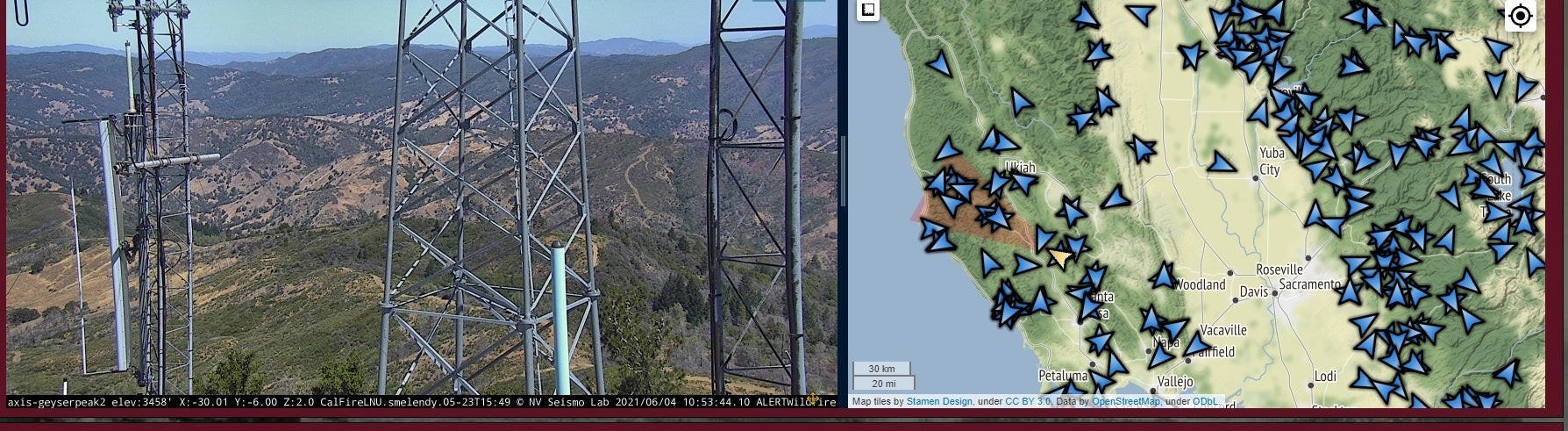 ALERTWildfire camera positioned to view the Geysers area of Sonoma County mounted on an existing utility tower and map of its location.