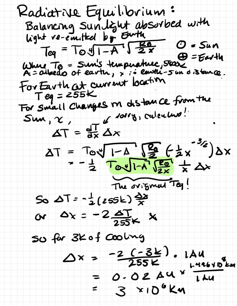 A page from Britt Scharringhausen's lab notebook, showing a handwritten equation for determining a planet's radiative equilibrium, which sets its effective temperature.