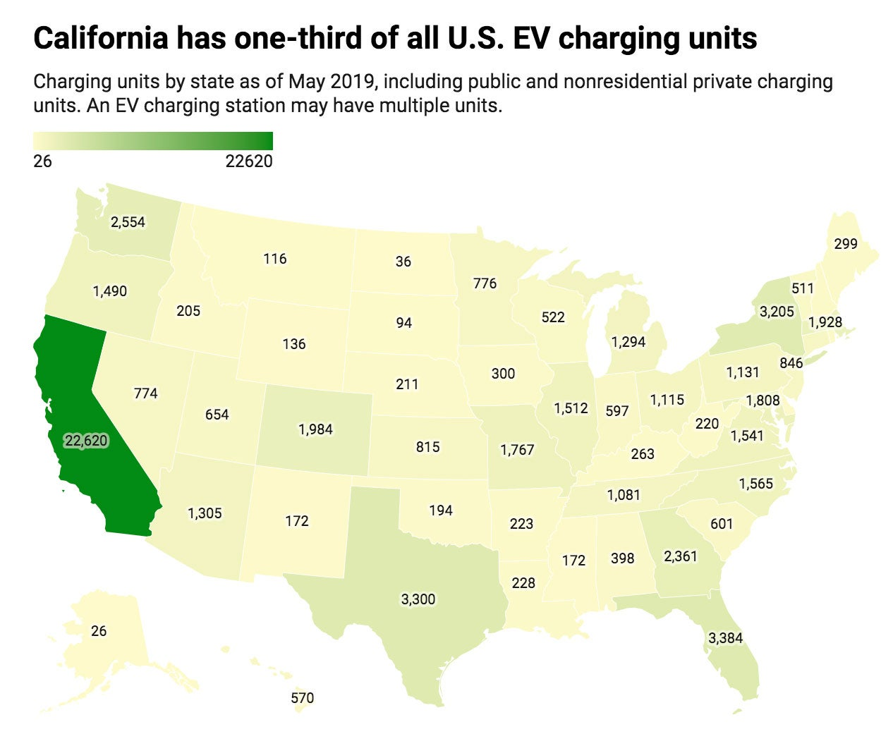United States EV charging stations map