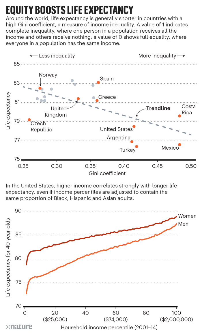 Life expectancy infographic in various countries.