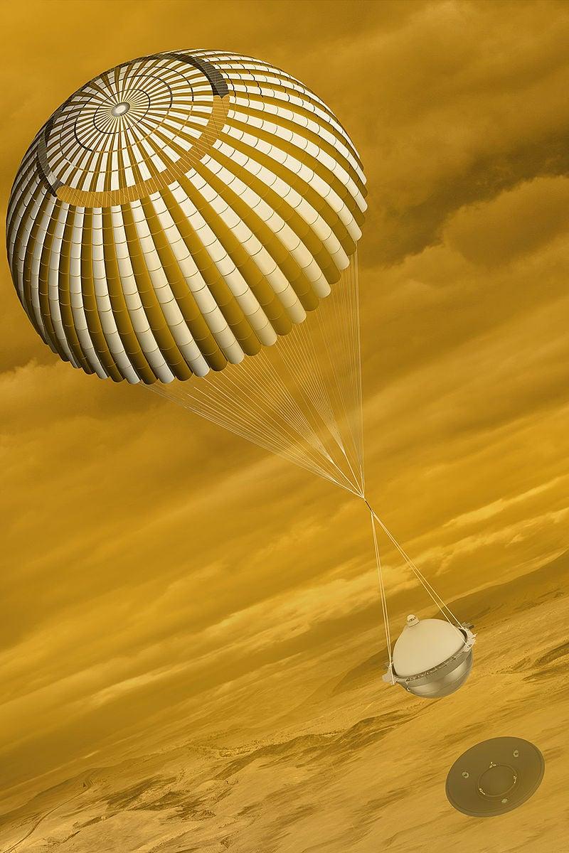 DAVINCI+ probe descending through the Venusian atmosphere.