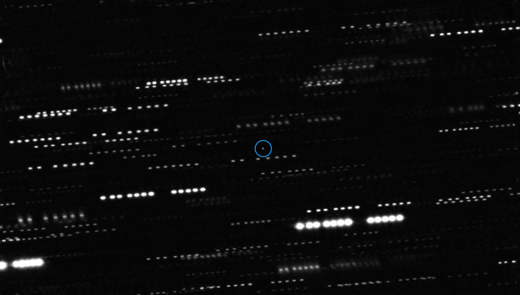 Oumuamua appears as a faint dot in the center of this image