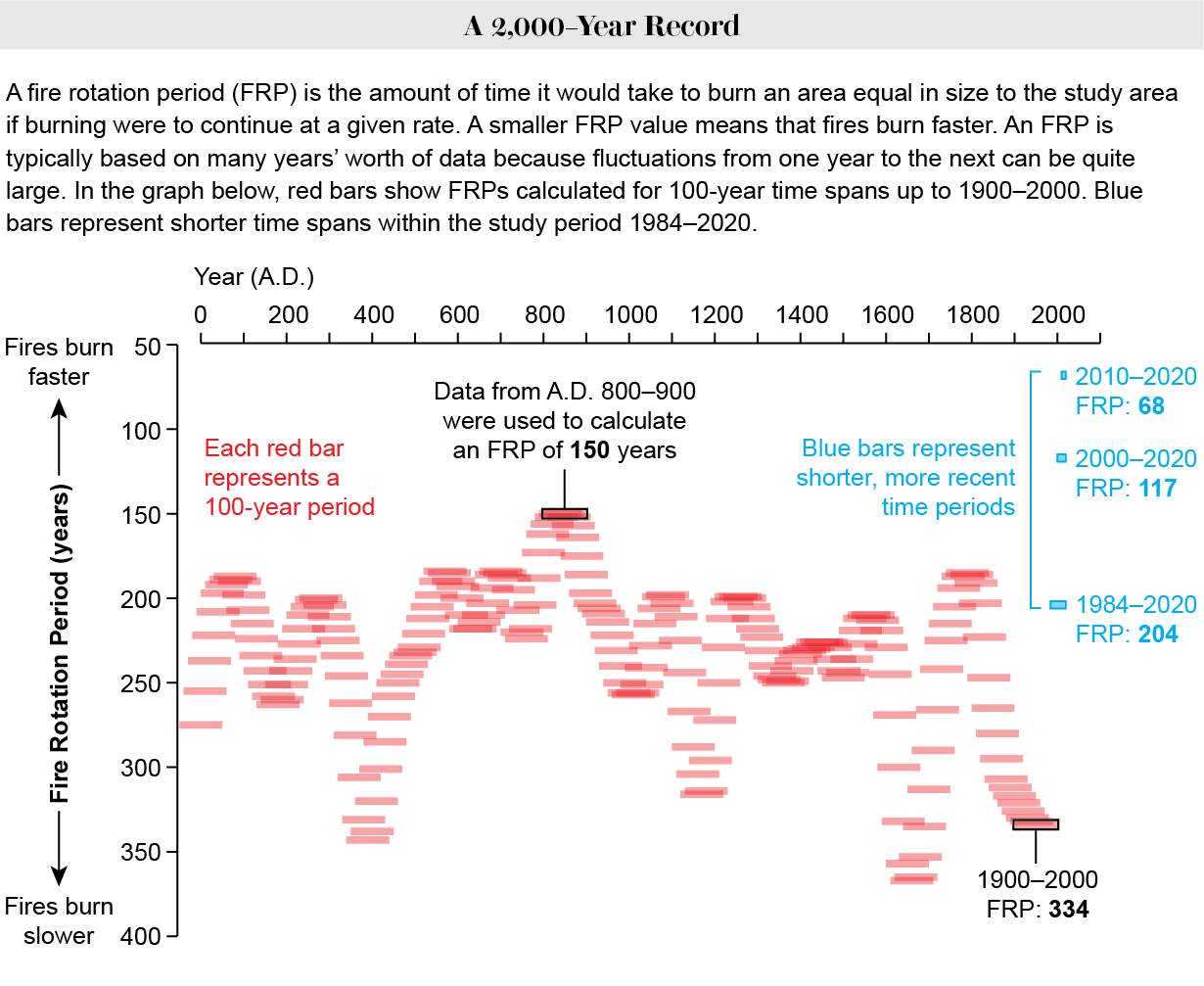 Graph shows fire rotation periods for 100-year intervals between 50 B.C. and 2000, plus FRPs based on data from 1984 to 2020.