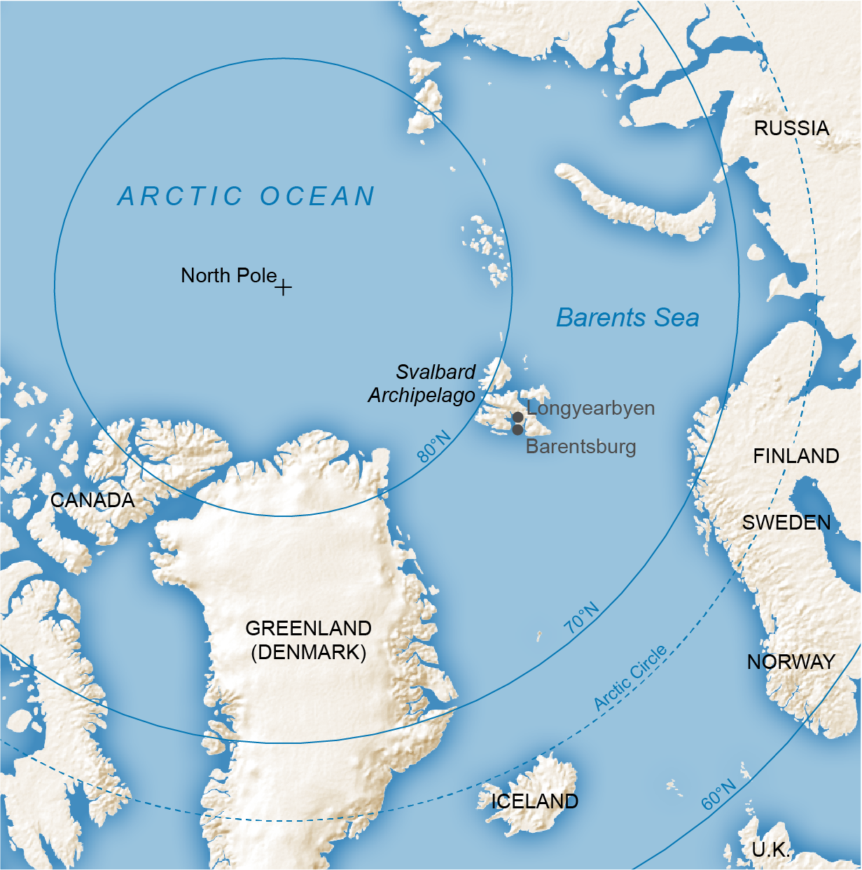 Map shows the location of Longyearbyen, Svalbard.