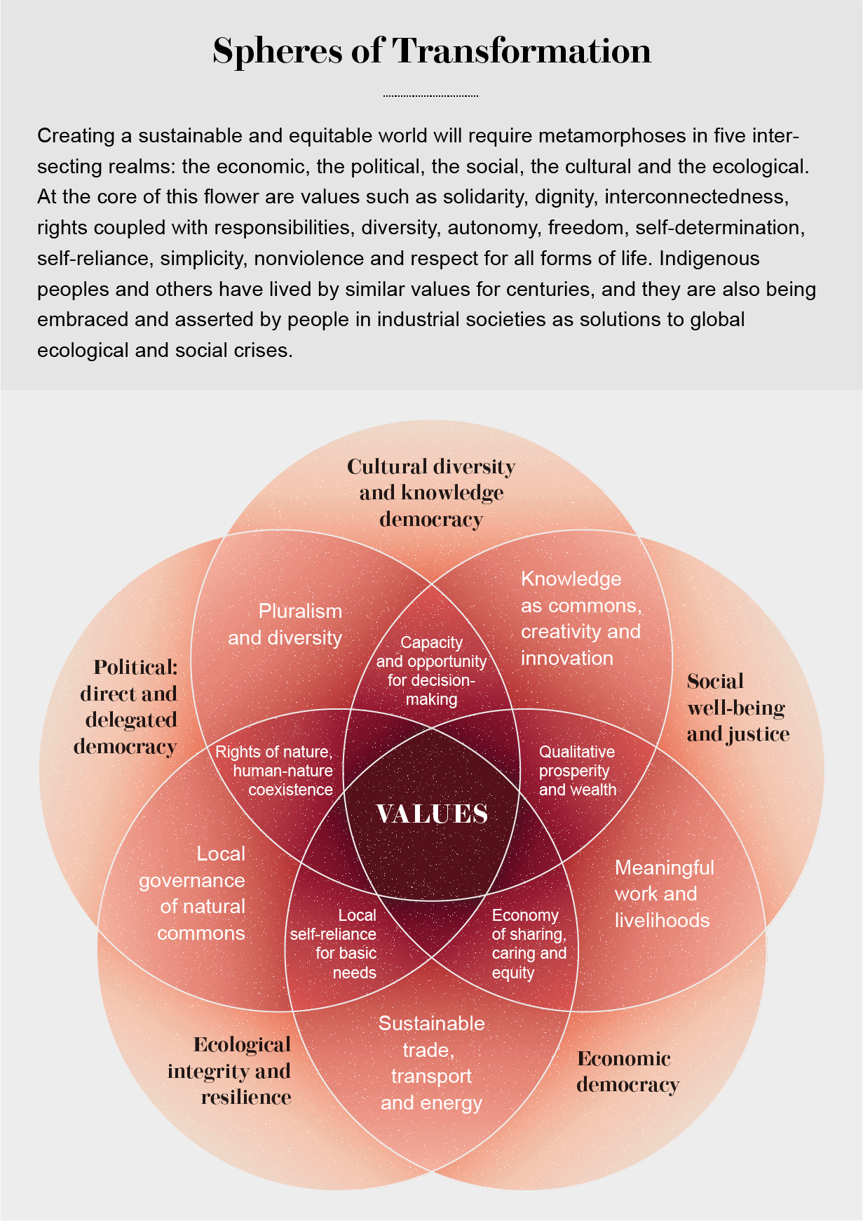 Five circles form a flower-shaped Venn diagram of intersecting realms: economic, political, social, cultural and ecological.