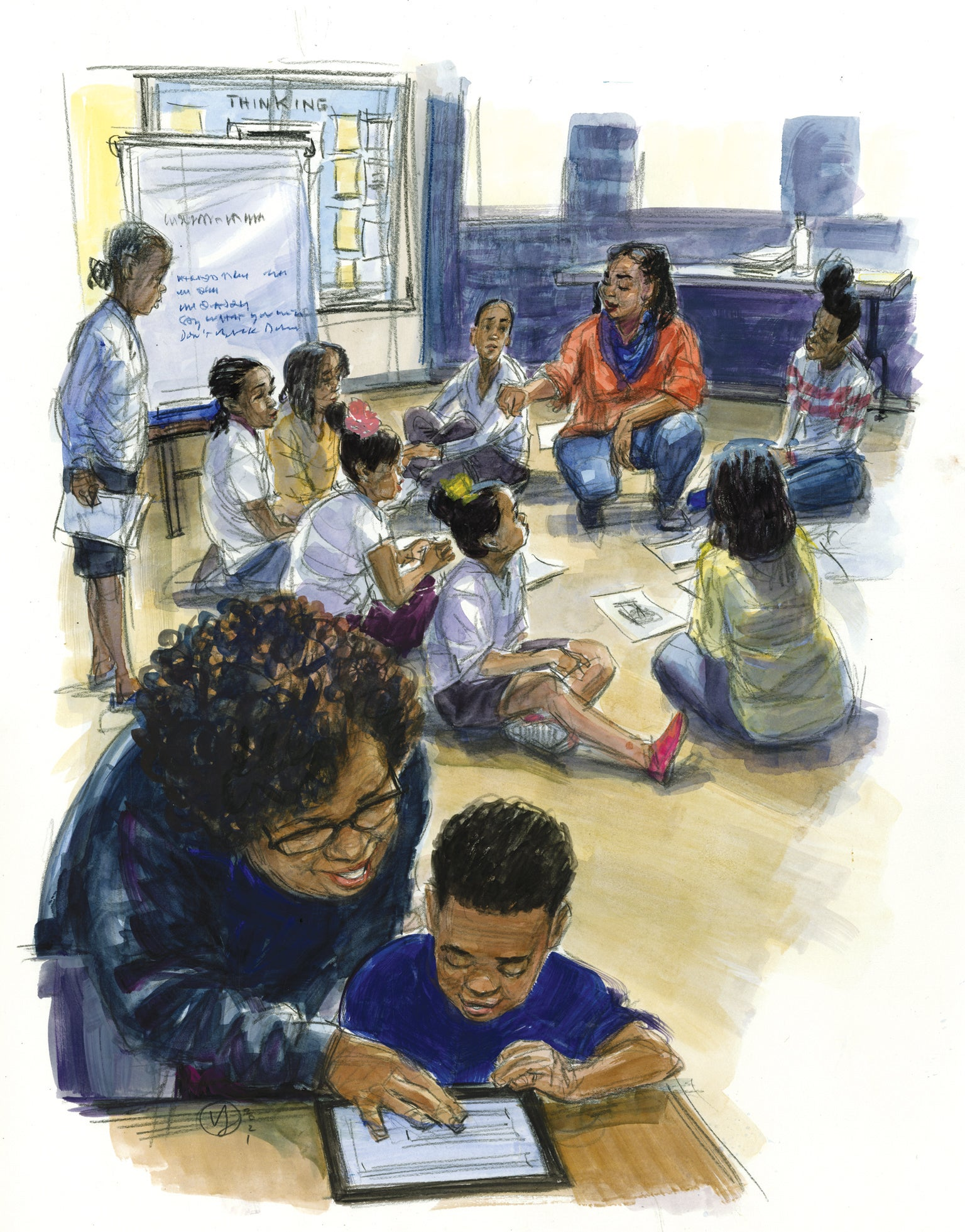 Classroom full of black children art concept.