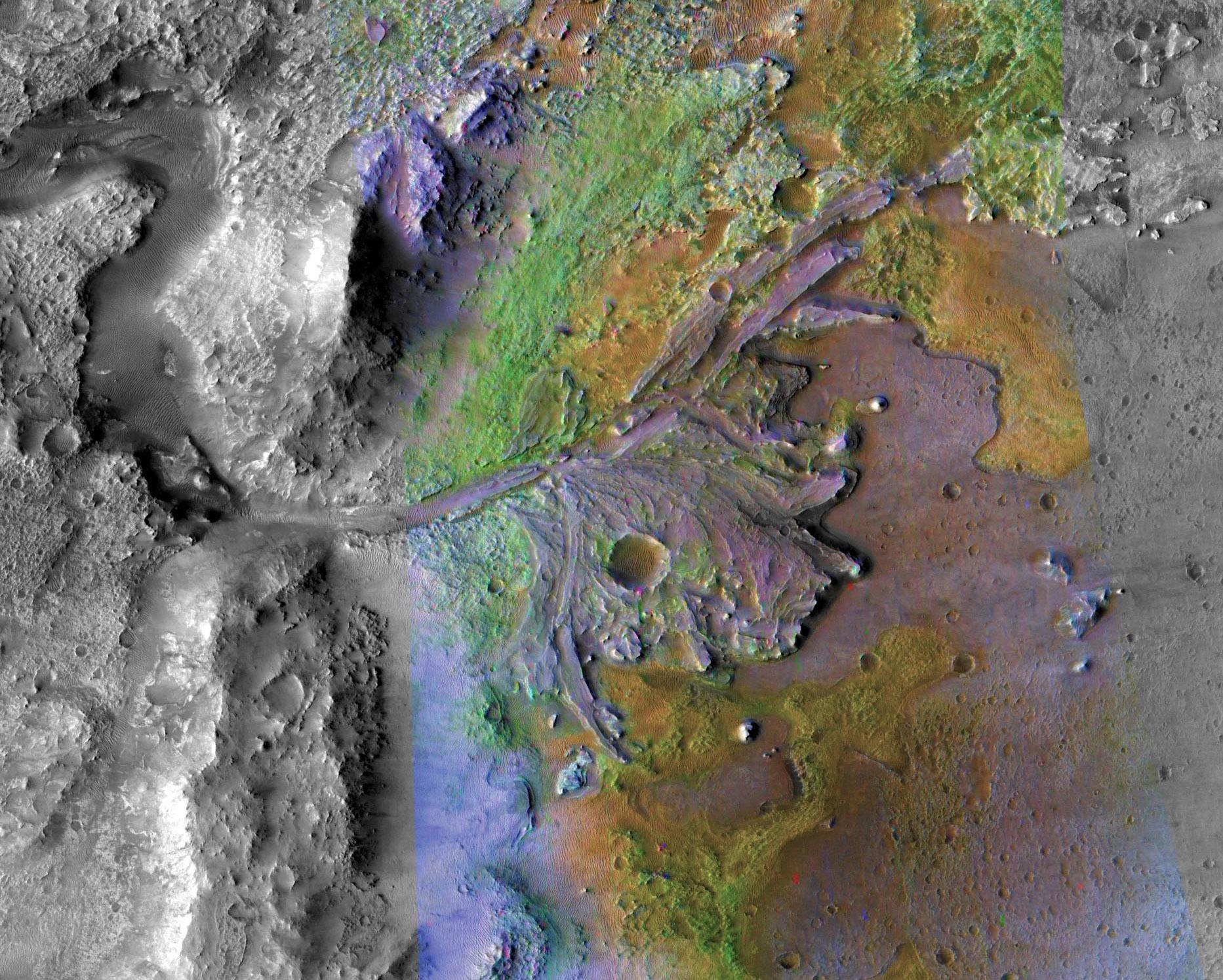 A false-color satellite image of Jezero Crater