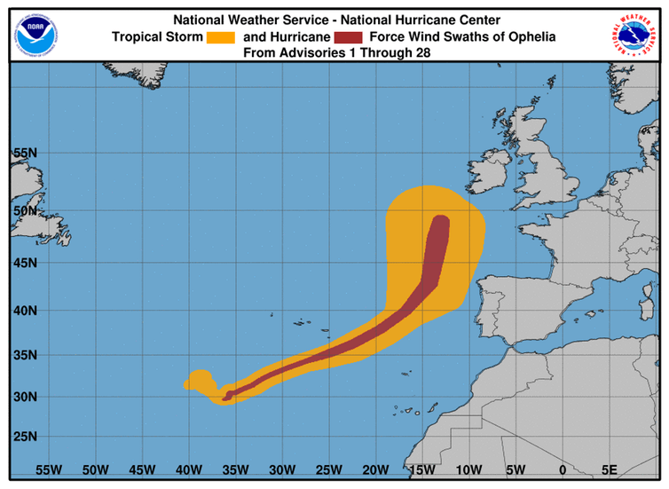 Why ExHurricane Ophelia Took A Wrong Turn Toward Ireland And - Map of us hurricanes