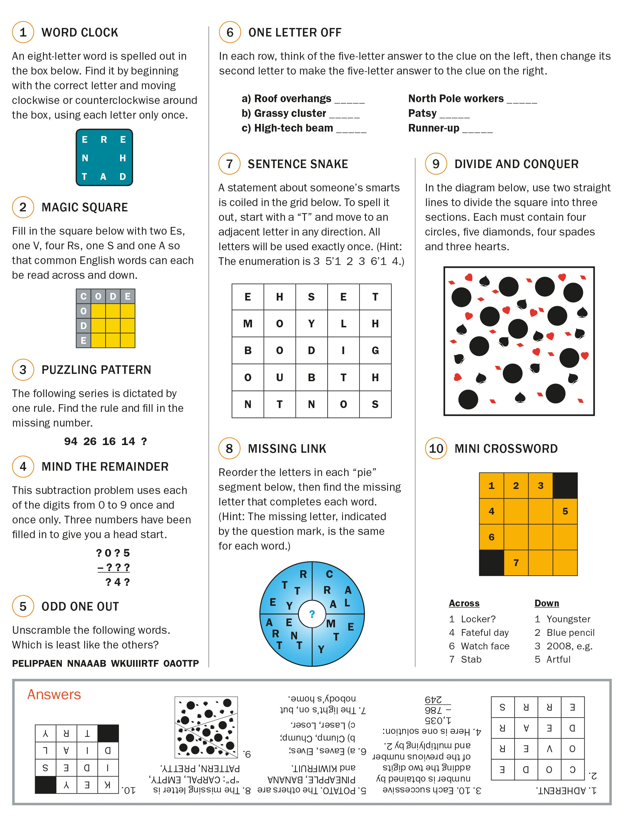 Head Games Try These Puzzles Scientific American