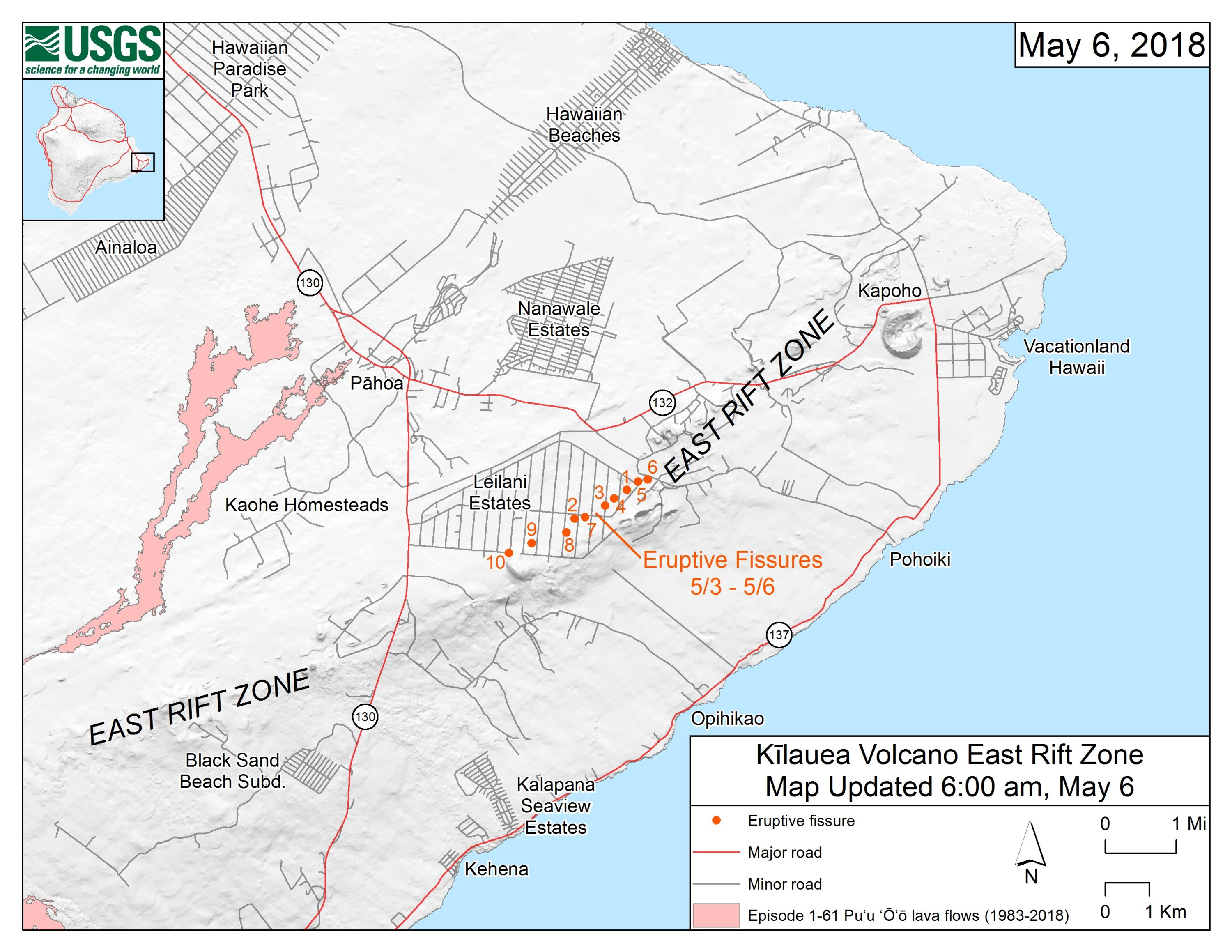 How Kilauea's Lava Invades Neighborhoods - Scientific American on kauai map us, pearl harbor map us, united states map us, honolulu map us, los angeles map us, volcano map us, san diego map us, anchorage map us, san francisco map us, washington map us, philadelphia map us, chicago map us, california map us, cleveland map us,