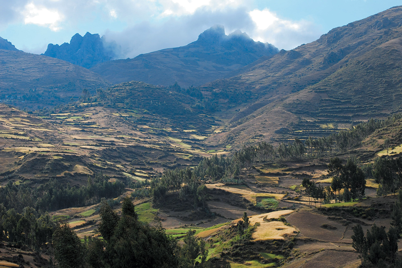 Panoramic view of Parque de la Papa in Peru.
