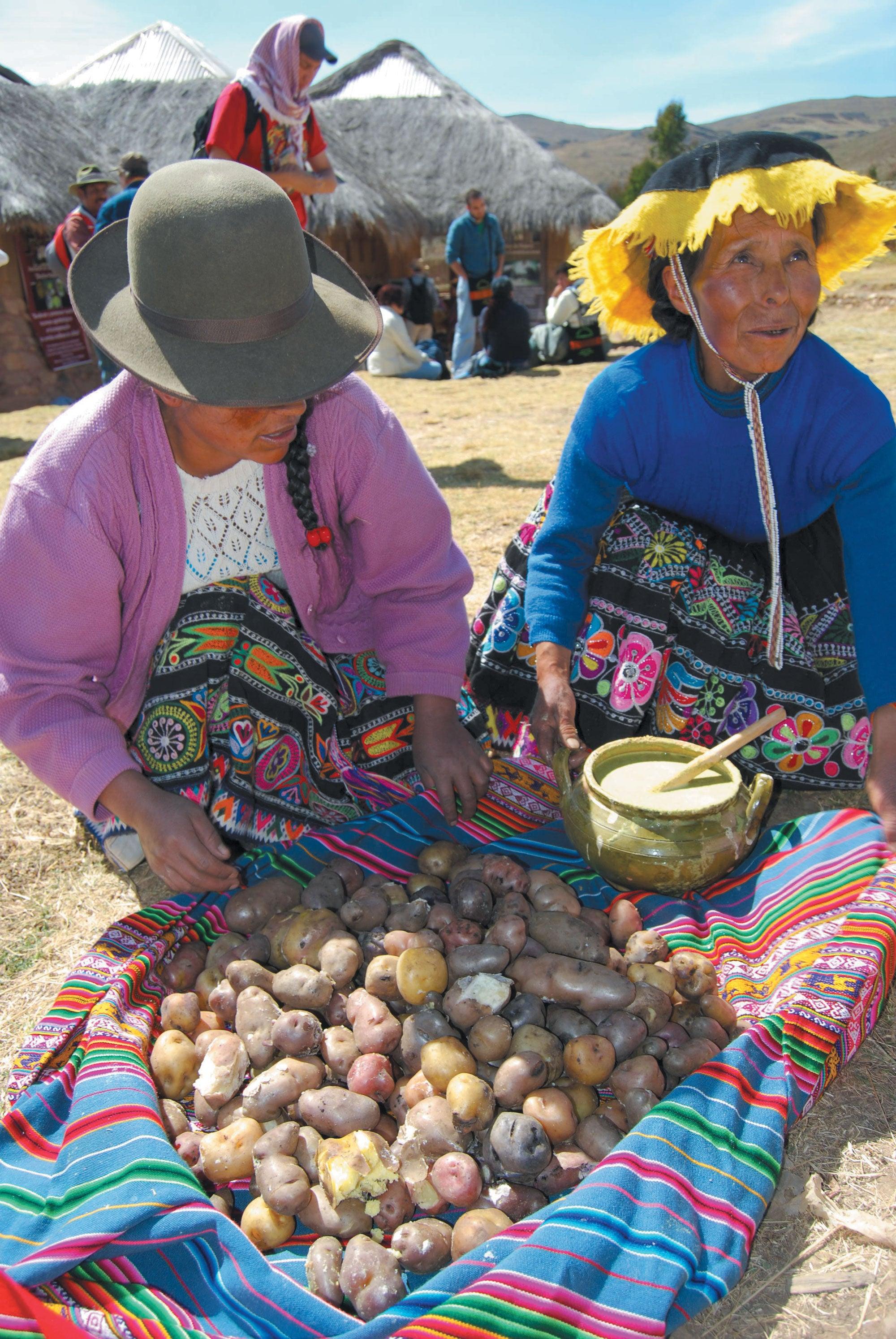 Quechua indigenous women selling potatoes.