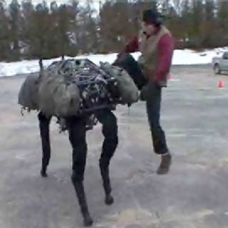 BigDog about to get kicked - no problem for this lifelike robot