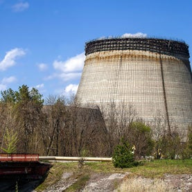 These were to be the cooling towers for Chernobyl reactors #5 and #6. Construction on the #5 and #6 reactors continued after the Chernobyl disaster, but construction was finally abandoned in 1989, three years after the accident.