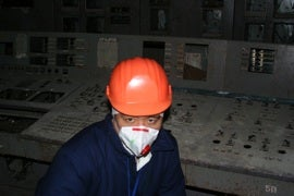Choi in control room for reactor No. 4 at Chernobyl