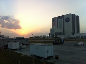 Vehicle Assembly Building at KSC at sunset