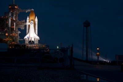 space shuttle Atlantis on launch pad evening of July 7