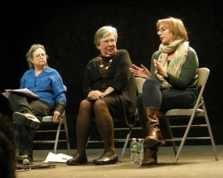 Lynne Osman Elkin, Helen Berman, and Anna Ziegler, from left to right, at panel discussion