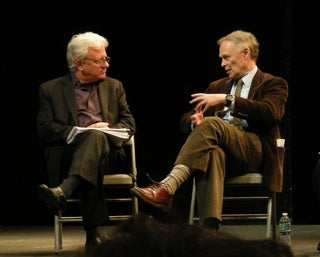 Stuart Firestein and Nicholas Wade, from left to right, at panel discussion
